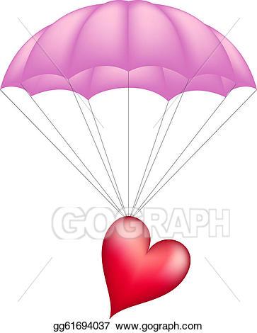 Vector art heart at. Parachute clipart pink