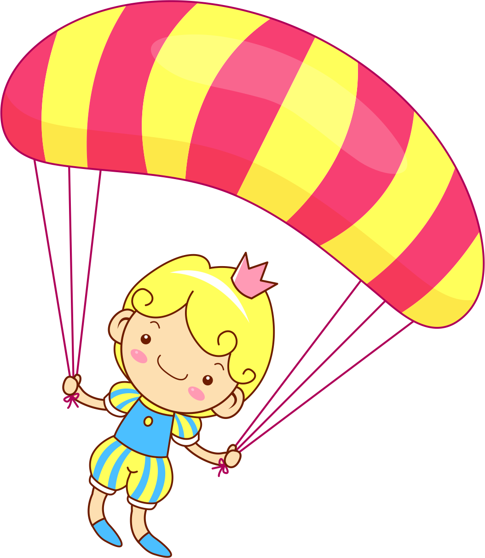 Drawing cartoon clip art. Parachute clipart pink