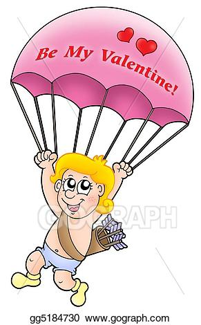 Stock illustration cupid drawing. Parachute clipart pink
