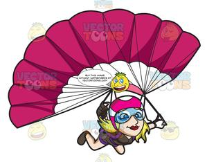 Parachute clipart pink. A lady skydiver controlling