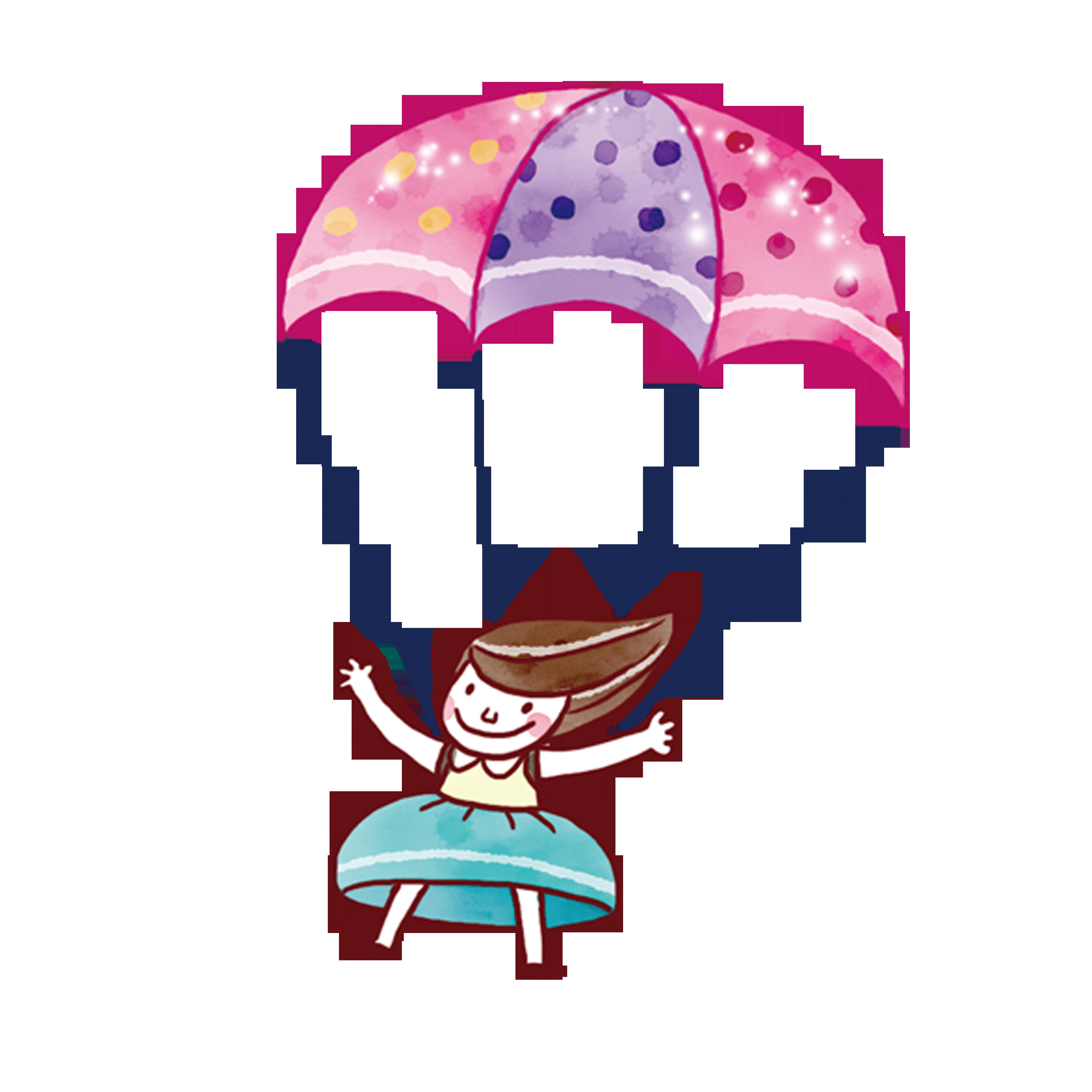 Parachuting illustration color people. Parachute clipart pink