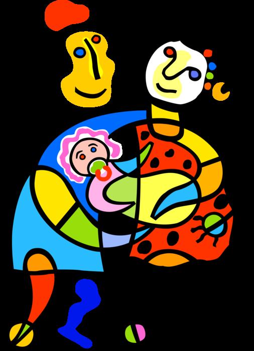 Parents with newborn baby. Parent clipart proud parent