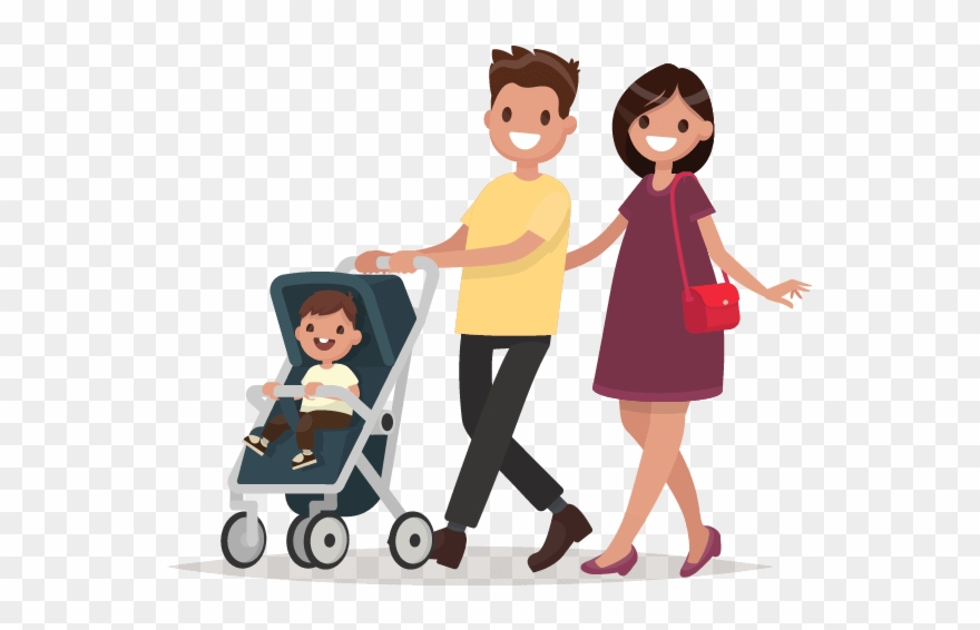 People with children and. Parent clipart walking