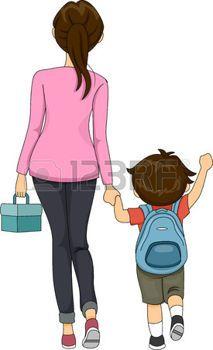Parent clipart walking. Parents and children illustration