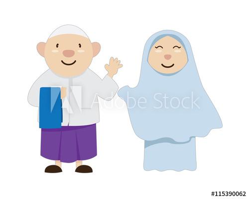 Parents clipart islamic man. Muslim couple character ramadan