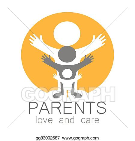 Parents clipart love care. Vector illustration logo eps