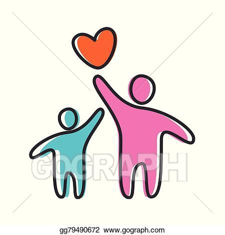 Vector art heart parent. Parents clipart love care