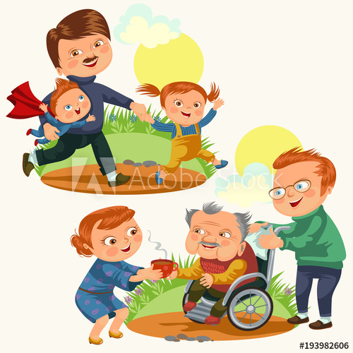 Set happy fathers day. Parents clipart love care