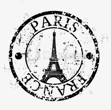 Stamp transmission tower hand. Paris clipart