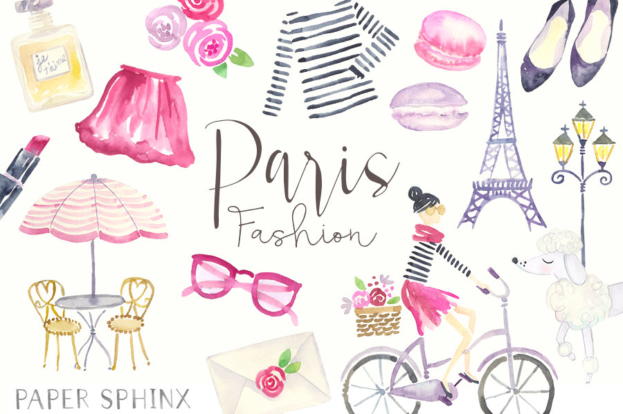 Watercolor fashion clip art. Paris clipart