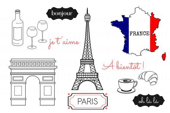 Eiffel tower arc de. Paris clipart
