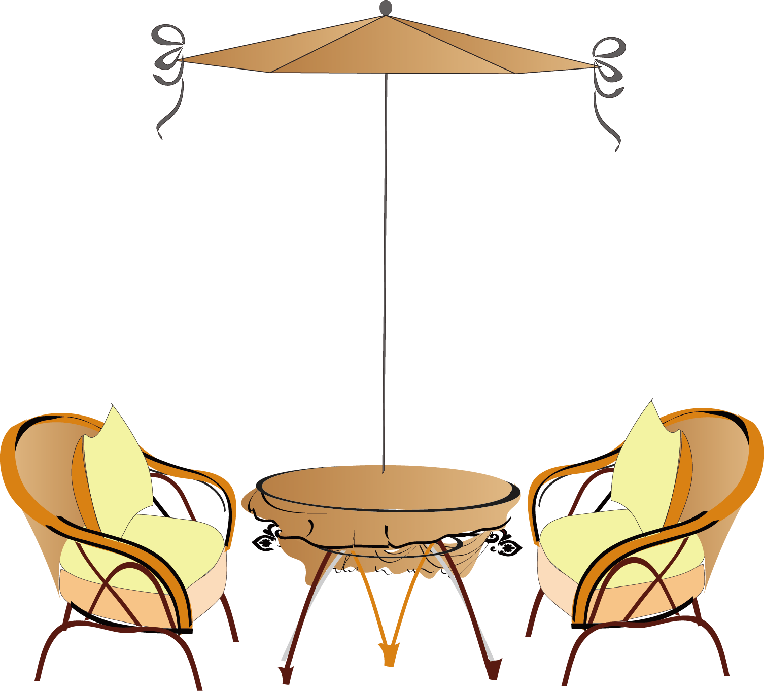 Coffee chair open seat. Paris clipart cafe table