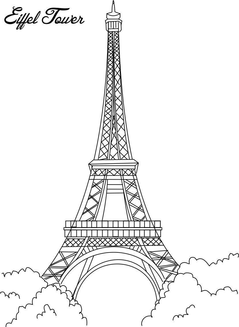 Eiffel pages . Tower clipart coloring page