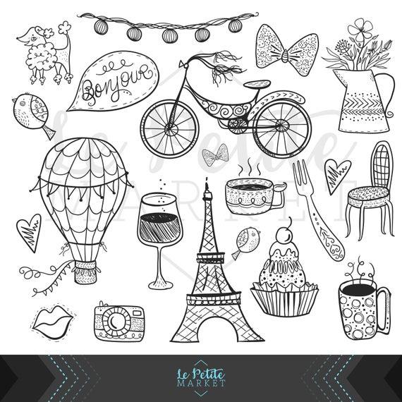 Hand drawn digital set. Paris clipart cute