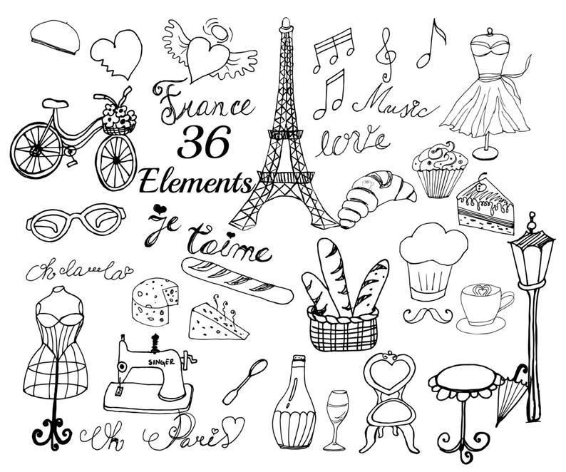 France eiffel tower doodle. Paris clipart drawing