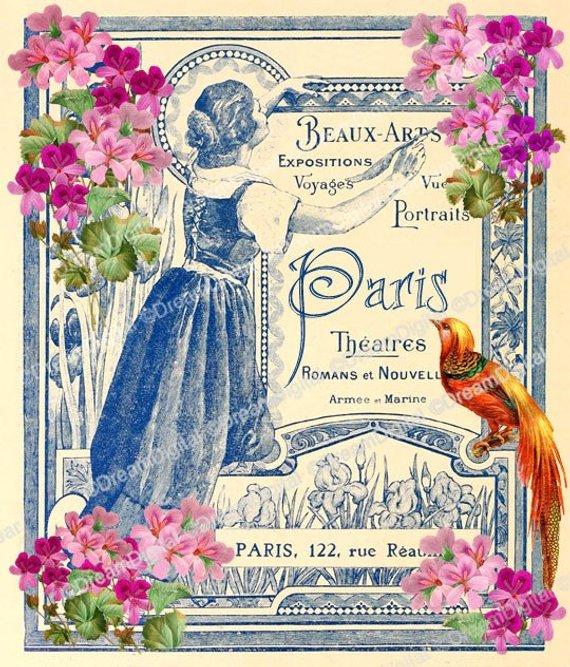 Paris clipart ephemera. Printable image with vintage