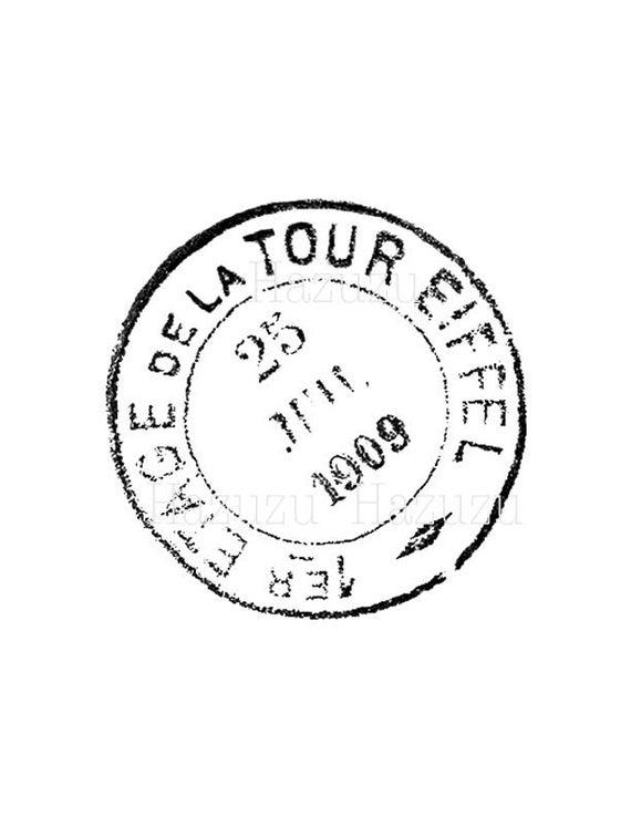 Eiffel tower french postmark. Paris clipart ephemera