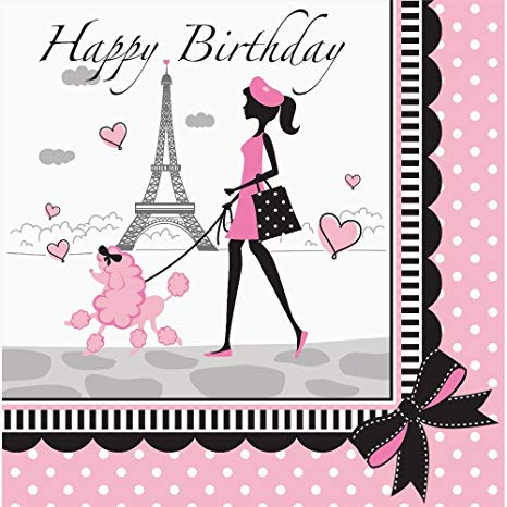 Paris clipart happy birthday. Party in lunch napkins