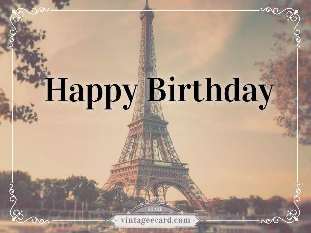 Paris clipart happy birthday. Vintage ecard