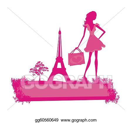 Drawing shopping in gg. Paris clipart lady paris