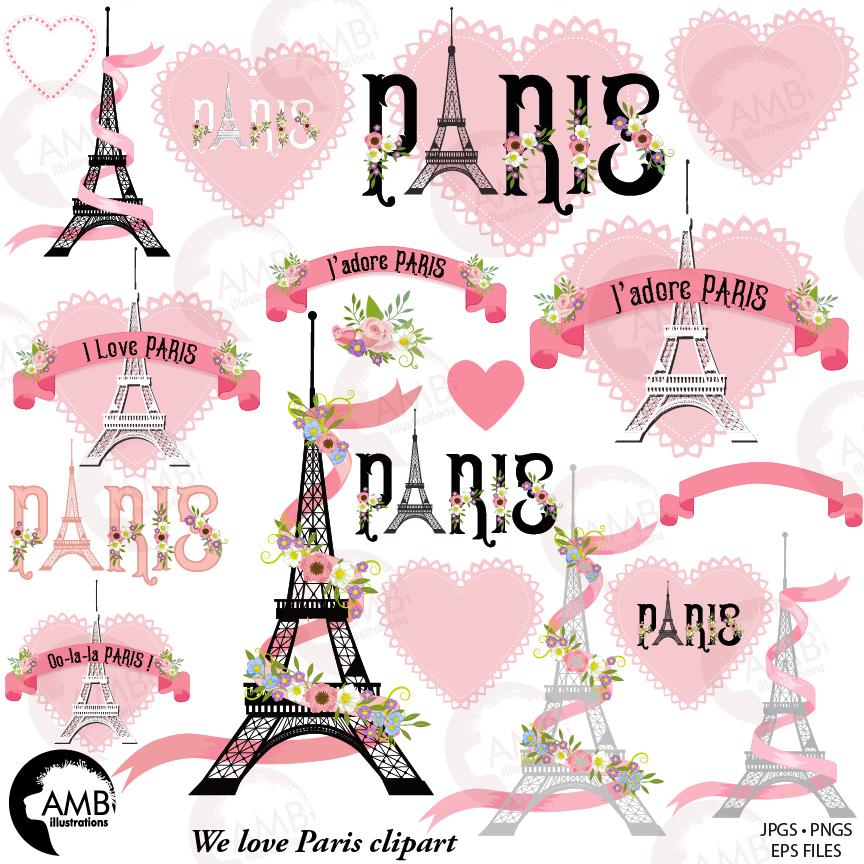Pink clip art theme. Paris clipart love