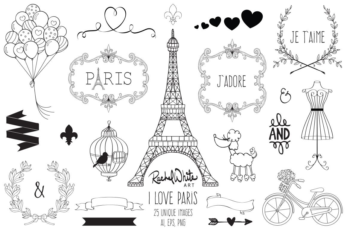 Paris clipart love. I clip art set