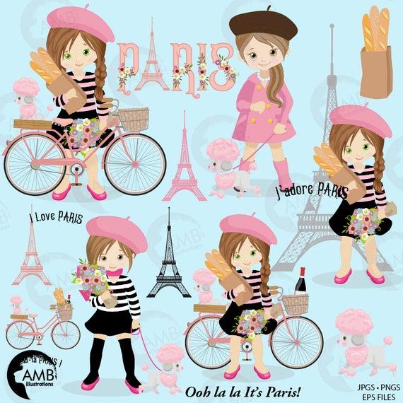 Pink clip art theme. Paris clipart party paris
