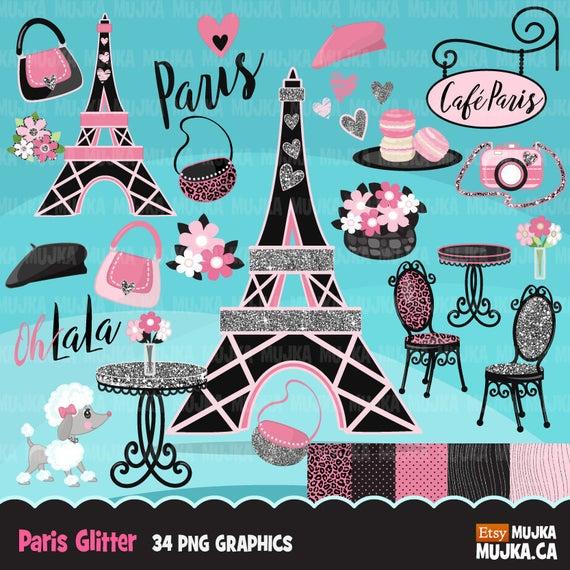 Glitter pink background eiffel. Paris clipart party paris