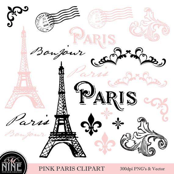 Paris clipart pink. Pinterest