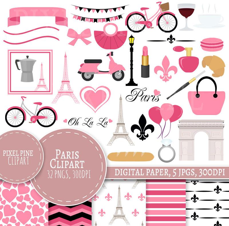Set pngs digital paper. Paris clipart pink