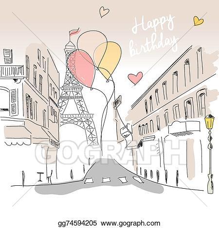 Paris clipart street paris. Vector art happy birthday