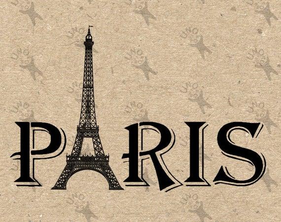 Vintage eiffel tower instant. Paris clipart word