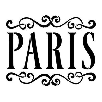 Paris clipart word. Stencil by studior vintage