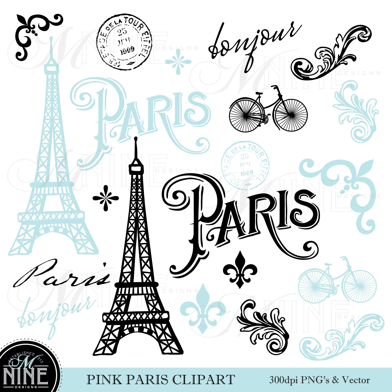 Blue clip art theme. Paris clipart