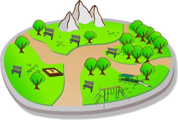 City clip art at. Playground clipart small park