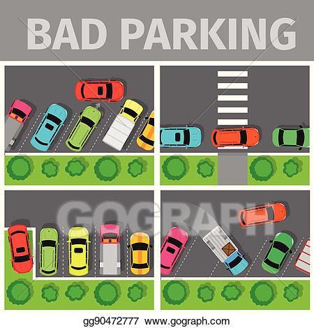 Parking lot clipart bad parking. Vector stock set car