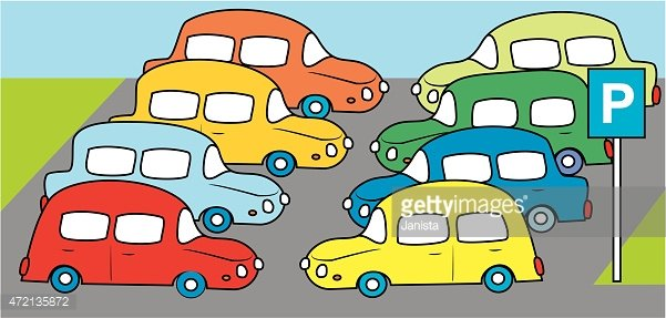 Parking lot clipart. With cars stock vectors