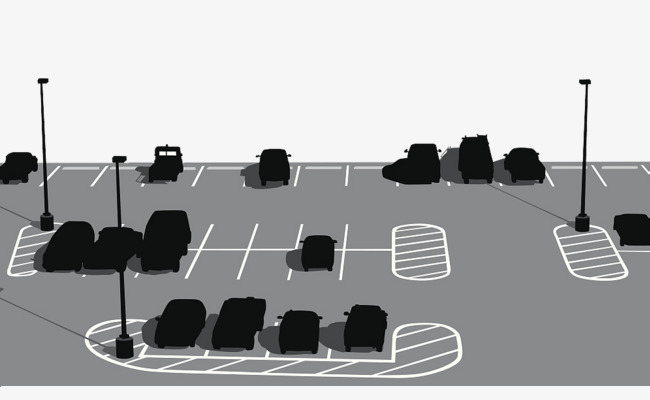 Silhouette of outdoor vehicle. Parking lot clipart