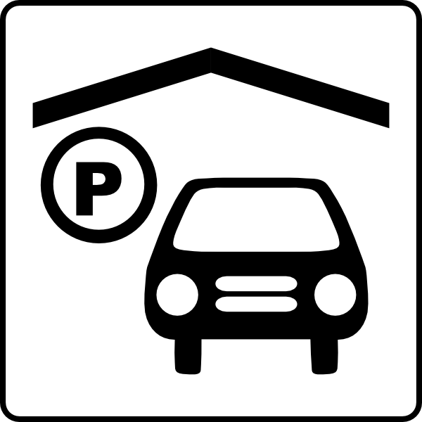 Hotel icon has indoor. Parking lot clipart