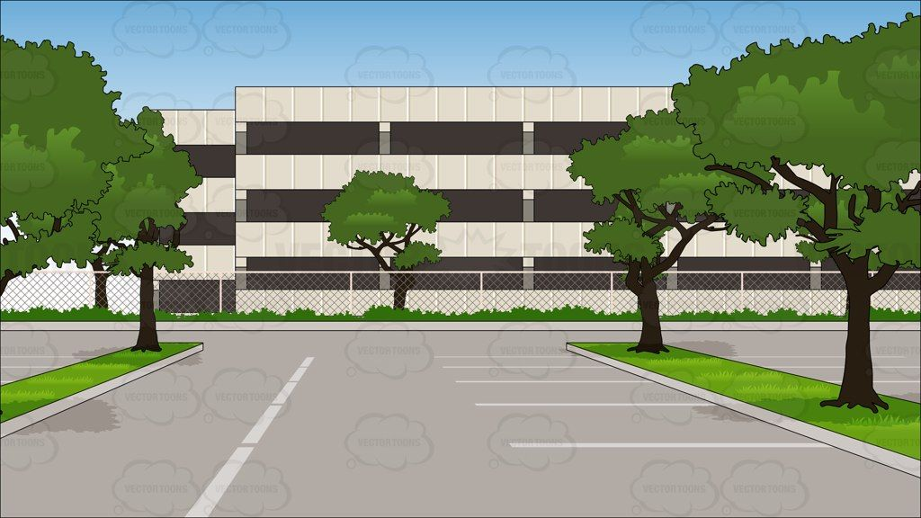 Parking lot clipart. Empty of an office