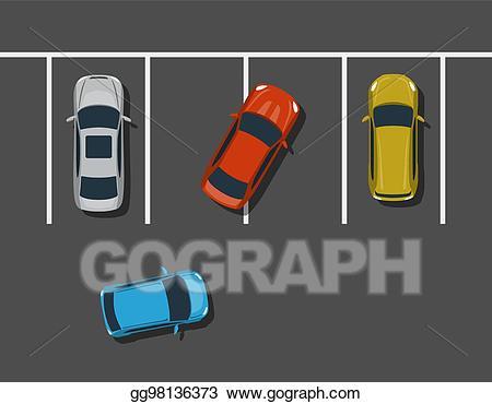 Parking lot clipart bad parking. Vector car top view