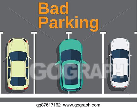 Parking lot clipart bad parking. Vector cars top view
