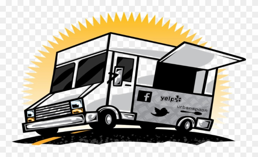 Food truck round up. Parking lot clipart cartoon
