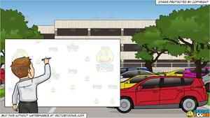 Back to the drawing. Parking lot clipart office