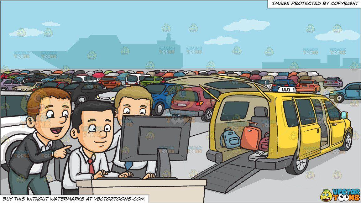 Parking lot clipart office. Cartoon a group of