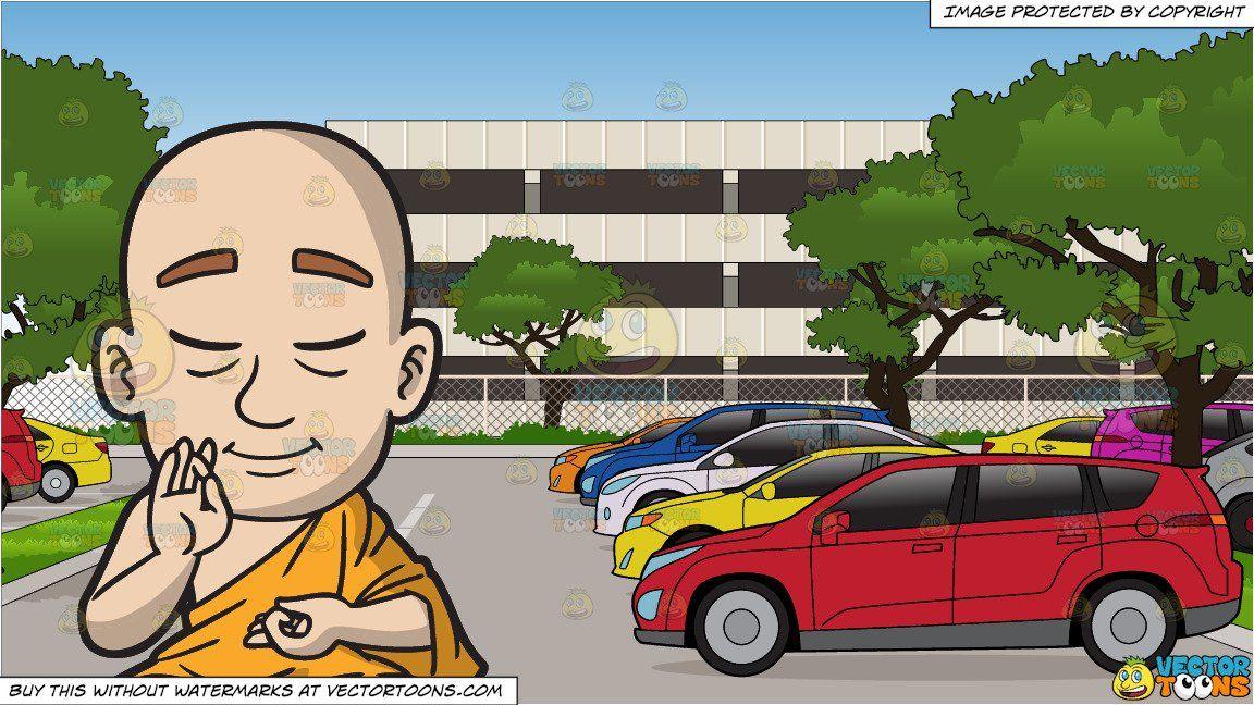 Parking lot clipart parking building. Cartoon a meditating buddhist