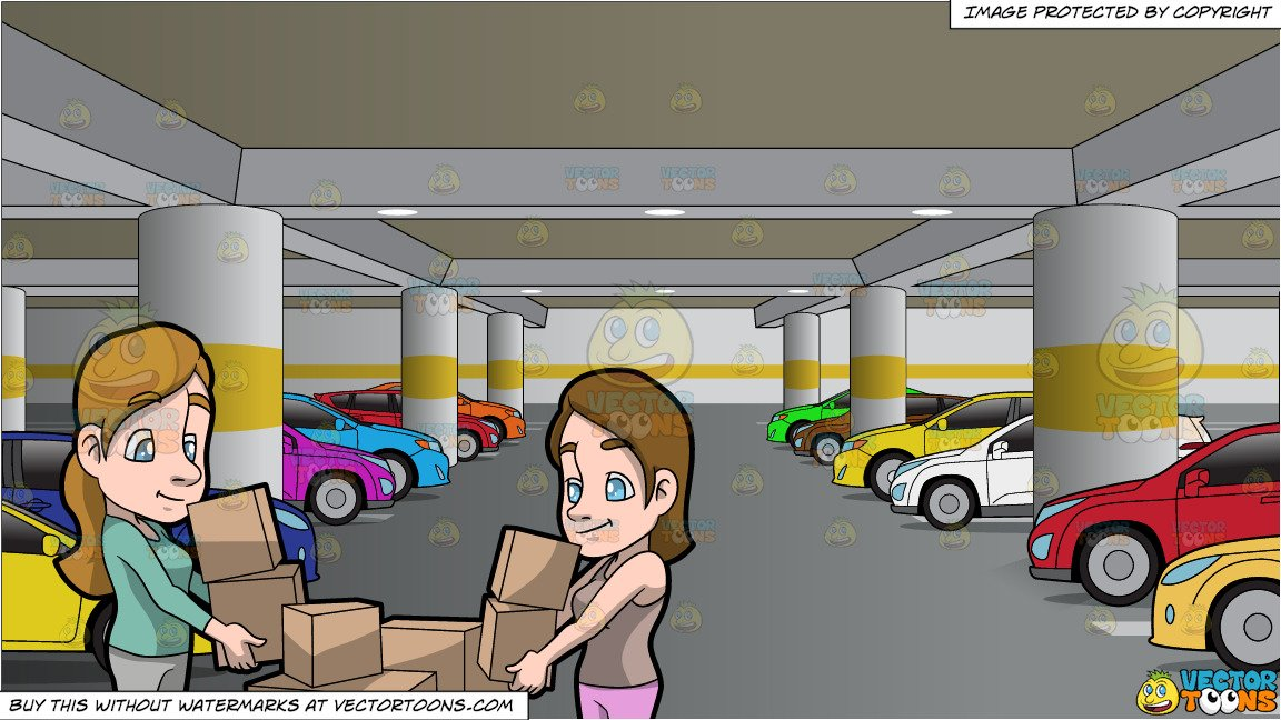 Parking lot clipart parking place. Two women carrying boxes