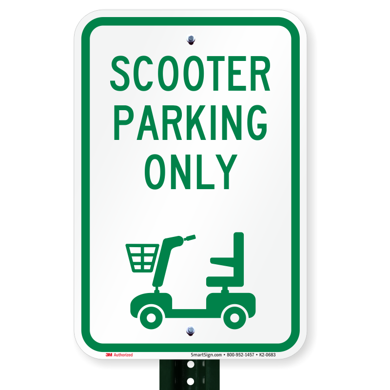 Parking lot clipart reserved. Scooter only sign sku