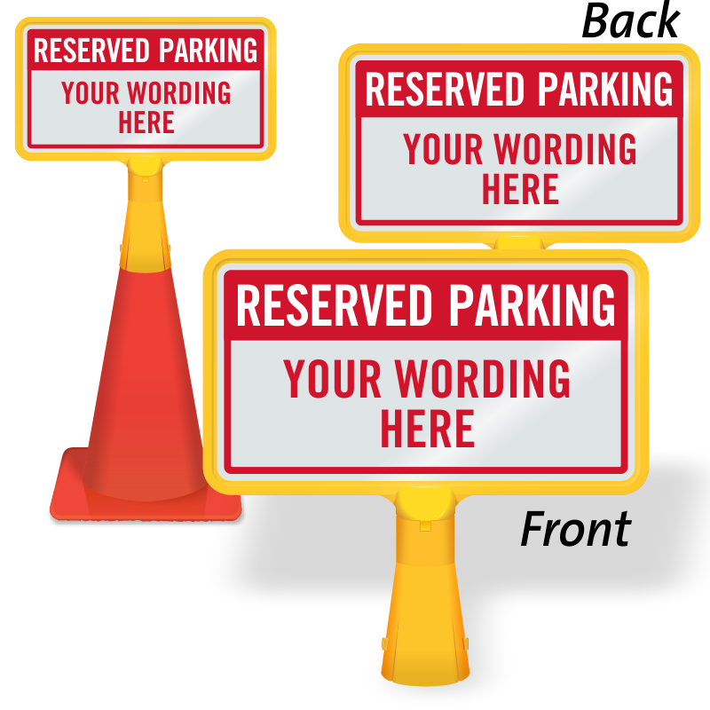 Coneboss signs for traffic. Parking lot clipart reserved