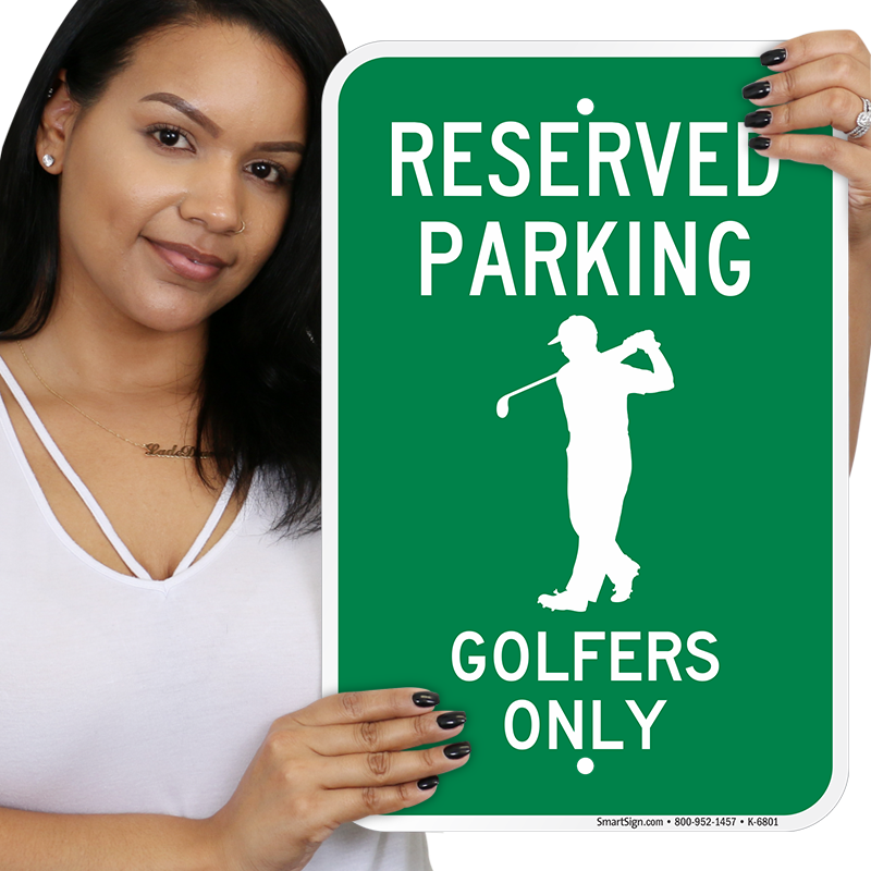 Parking lot clipart reserved. Golfers only signs sku